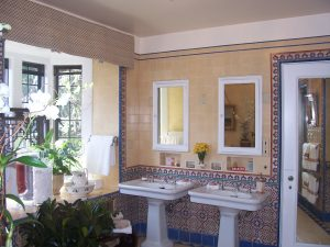 Guest Bathroom, with crazy existing tile, which was not to be touched, Beverly Hills, Greystone Mansion