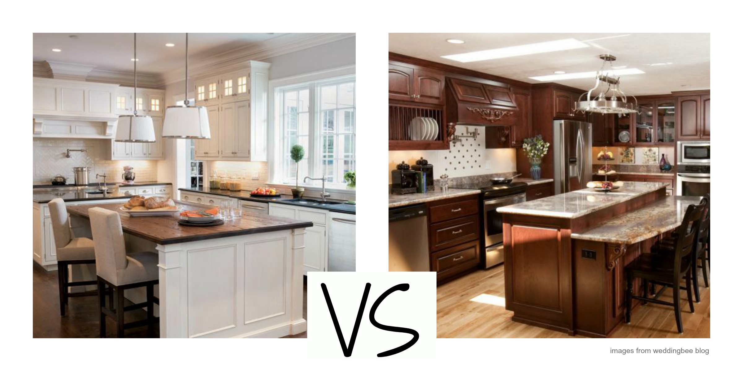 White vs Wood Kitchen Cabinets by Pamela Sandall, Pamela Sandall
