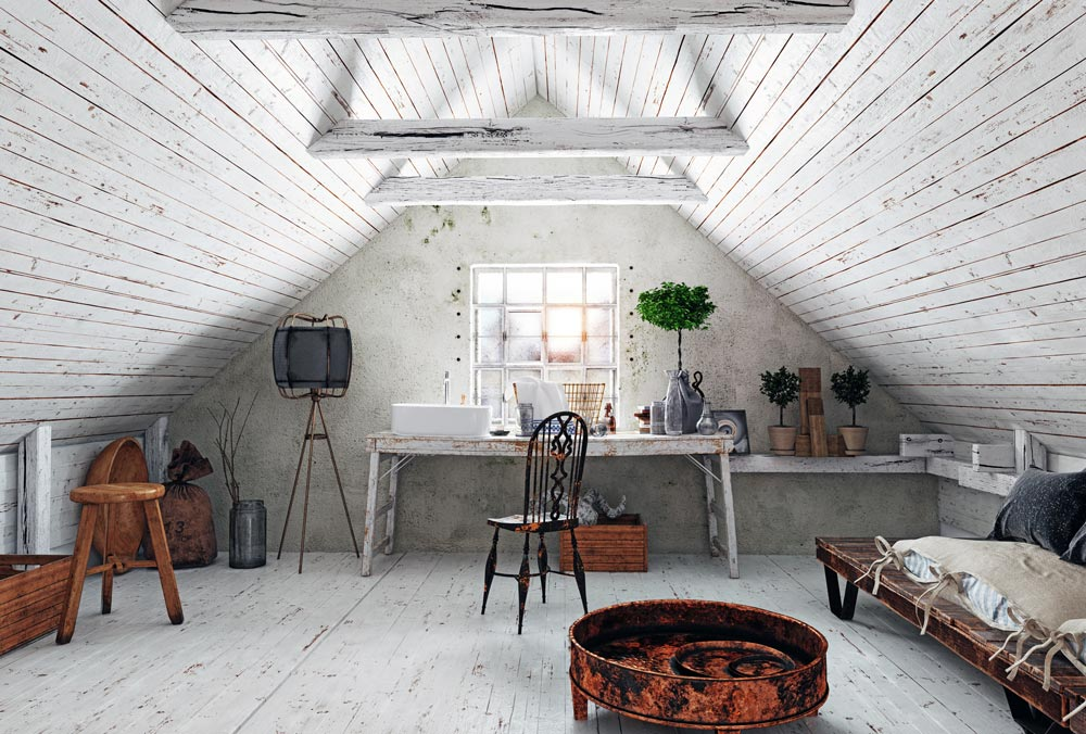 attic space with shabby chic style